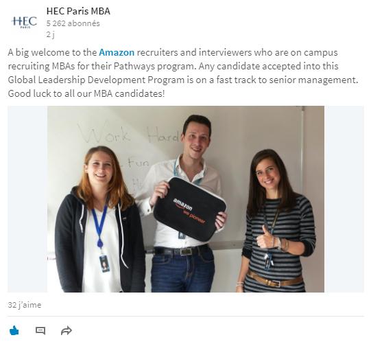 Exemple de partenariat entre HEC et Amazon