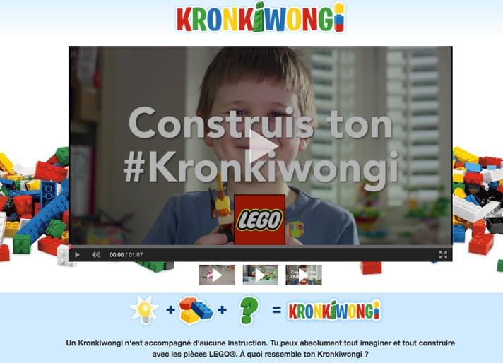 La landing page de LEGO Kronkiwongi