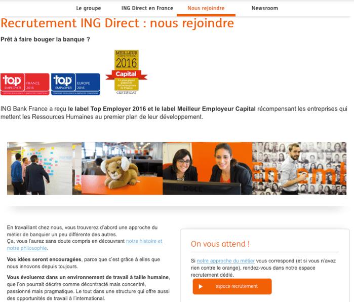 La page Carrières de ING direct