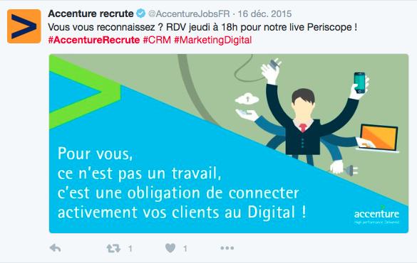 Accenture Recrute donne régulièrement rendez-vous à ses followers