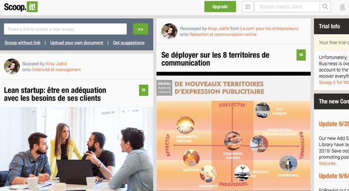 Scoop.it est multifonctions : curation, outil de partage, marque-page, etc.