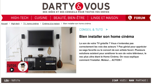 Darty montre comme installer son Home Cinema