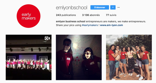 Compte Instagram de l'EM Lyon