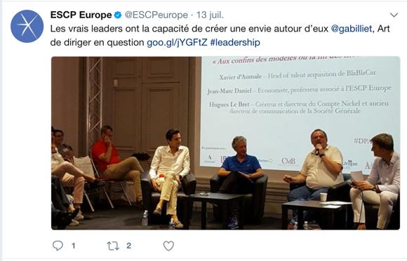 Exemple de tweet de l'ESCP