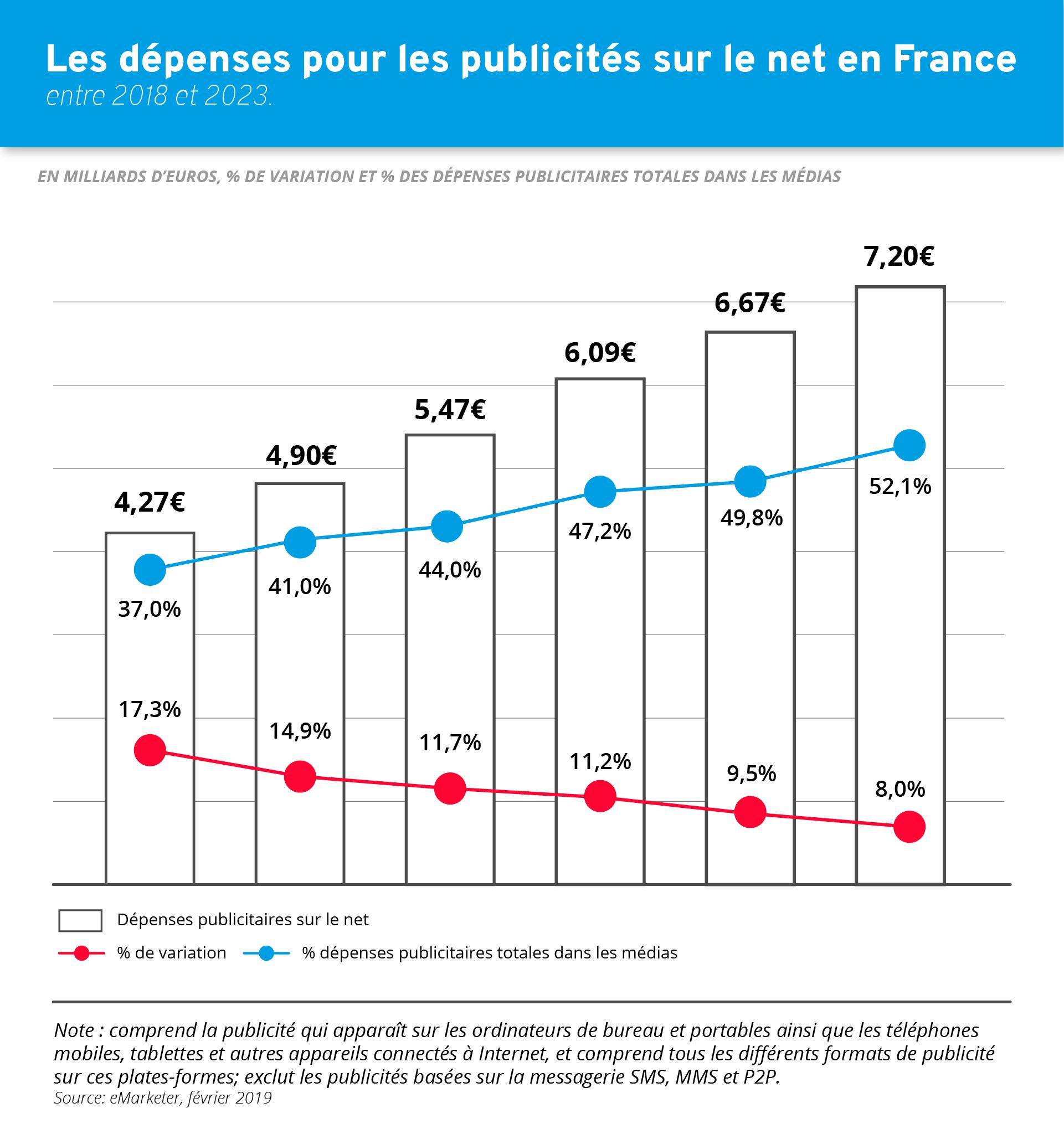 Dépenses pour les publicités sur le net en France