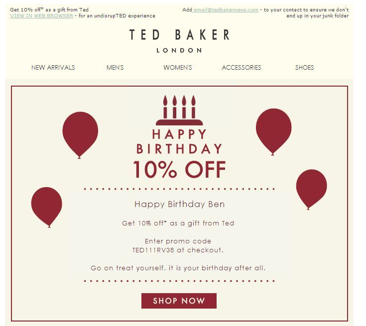 L'email d'anniversaire est un exemple de Marketing relationnel