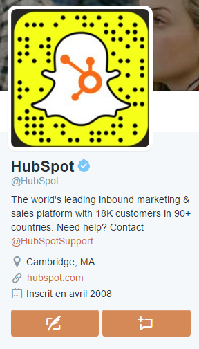 Le compte Twitter de Hubspot mentionne clairement Snapchat
