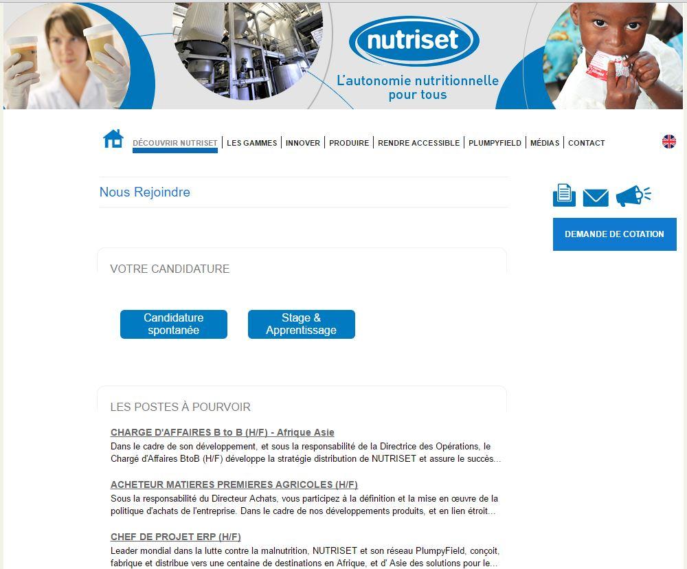 La page carrière de Nutriset
