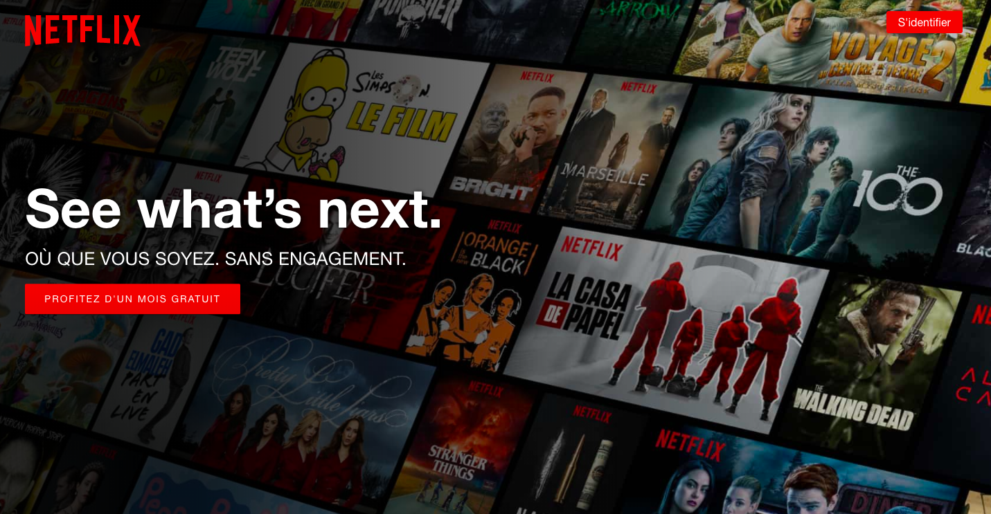 Netflix utilise un call-to-action pour inciter l'utilisateur a profiter d'un mois gratuit