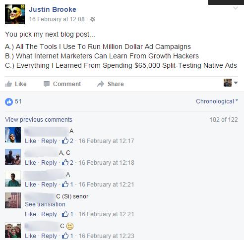 Un exemple de sondage par Facebook