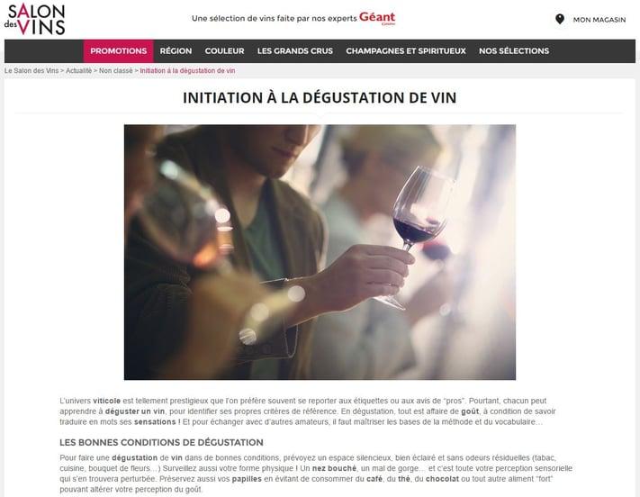 Le site de contenu du groupe Géant consacré au vin
