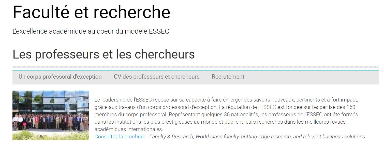 Présentation de l'équipe pédagogique de l'Essec