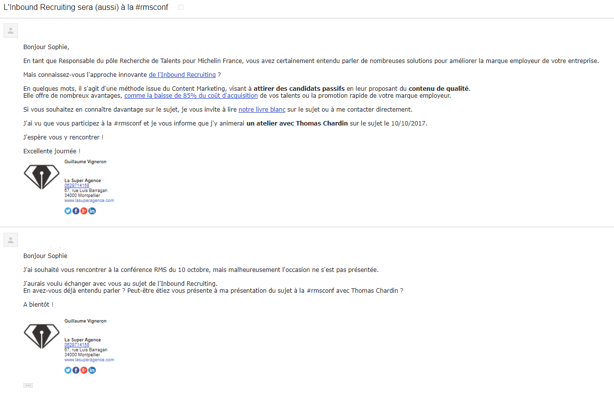 Exemple d'échange d'emails pour créer une relation avec Sophie de Villepin Michelin