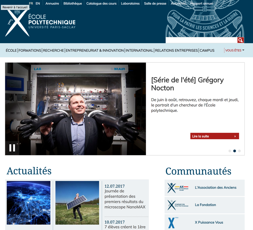 Landing page sur le site internet de l'École Polytechnique