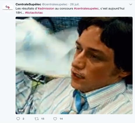 Publication sur le Twitter de CentraleSupélec