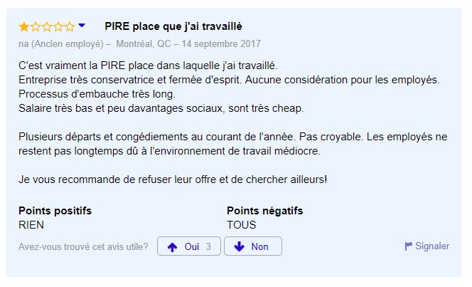 Evaluation très négative sur Indeed