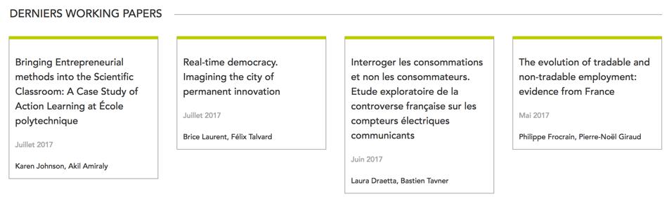 Télécom ParisTech publie les working papers de l'I3 sur leur site internet