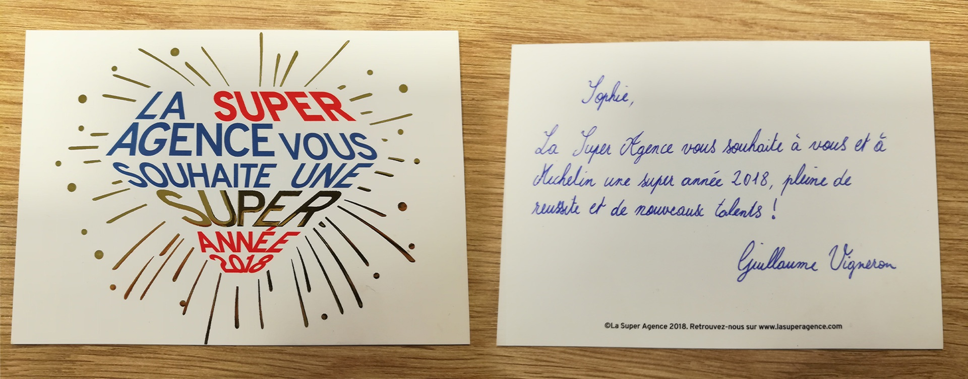 Carte de voeux destinée à Sophie de Villepin pour Michelin