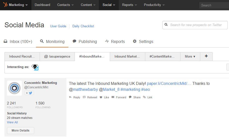 L'outil de curation d'Hubspot vous permet de monitorer les informations sur Twitter