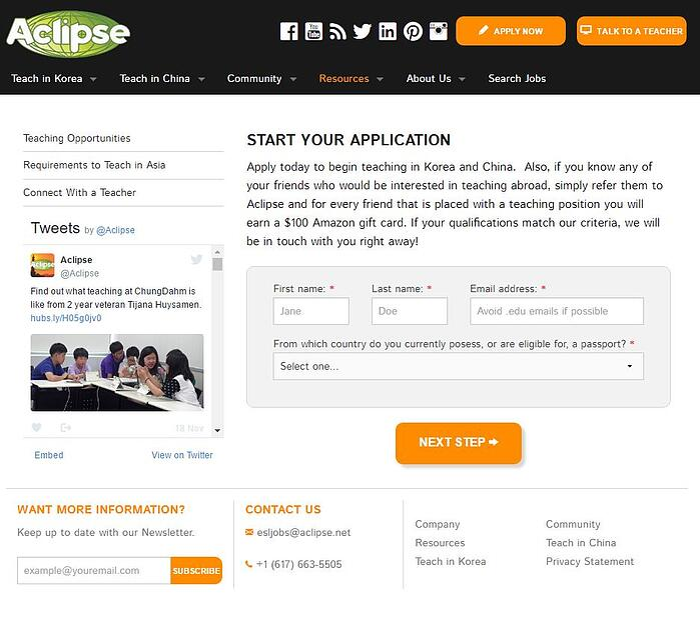Une Landing Page du site Aclipse qui a permis de multiplier par 5 les candidatures