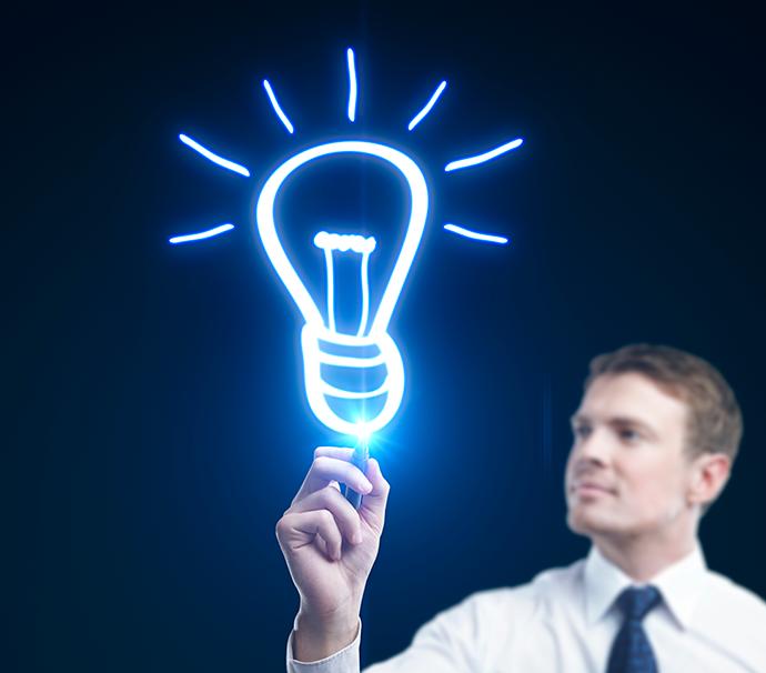 Une ampoule pour symboliser une idée, comme c'est original...