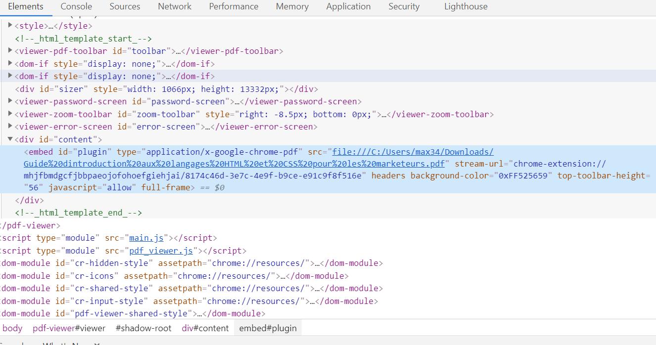 On peut inspecter un code d'une page web pour trouver des éléments HTLM ou CSS